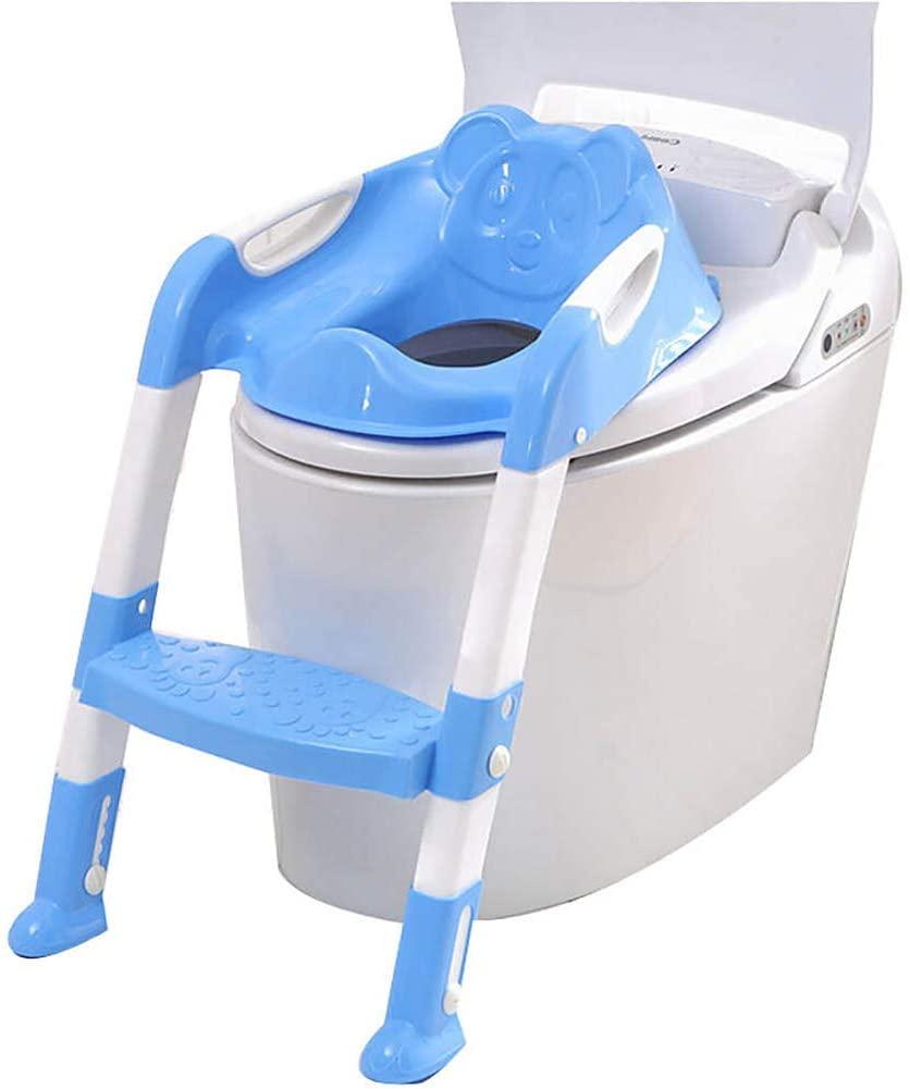 Réducteur de toilette enfant bleu avec marche pliable