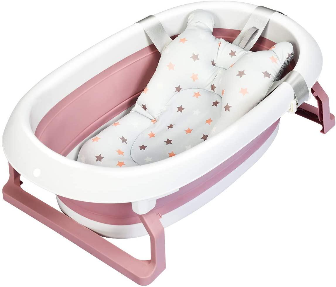 Baignoire bébé pliable avec coussinet rose de Costway